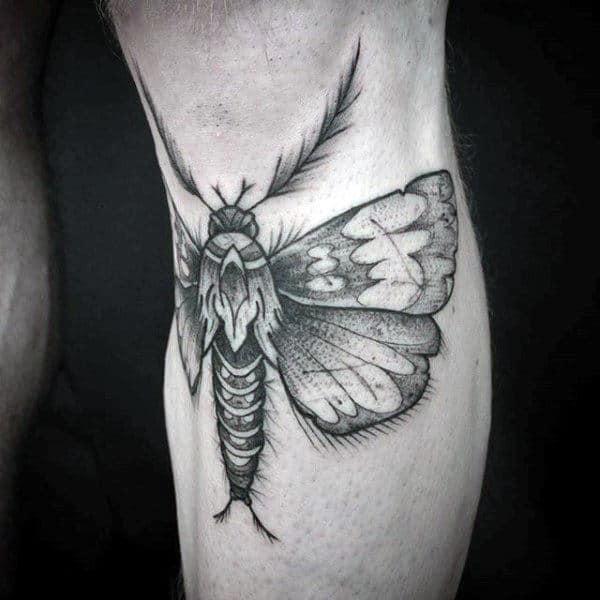 Below The Knee Mens Moth Tattoos