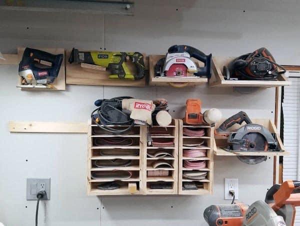 Belt Sanders And Sandpaper Organizer Tool Storage Ideas