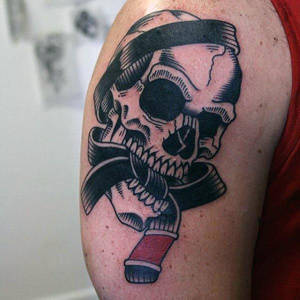 Belt With Skull Guys Jiu Jitsu Upper Arm Tattoo