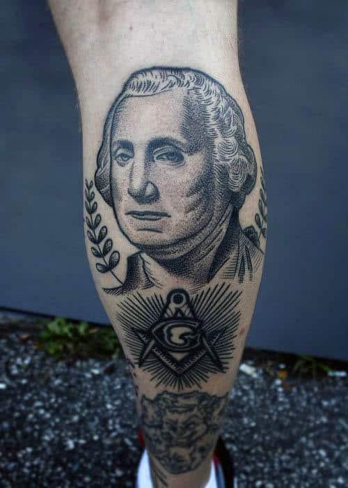 Benjamin Washington Masonic Leg Calf Tattoo On Man