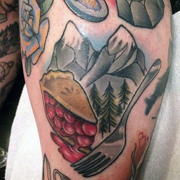 Berry Pie Fork Food Tattoo For Men