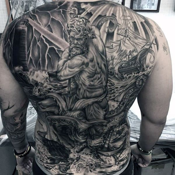 Best Black And Gray Tattoo Male Full Back