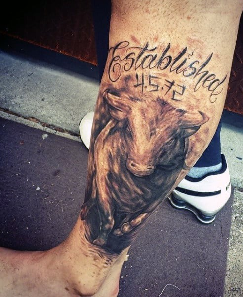 Best Bull Male Tattoos On Legs