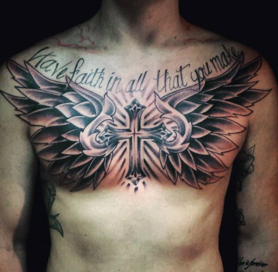 40 Wing Chest Tattoo Designs For Men: Top 60 Best Cross Tattoos For Men