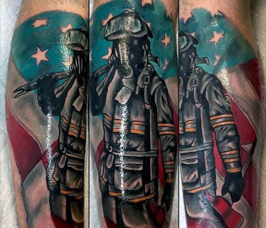 Best Firefighter Tattoos For Males On Legs