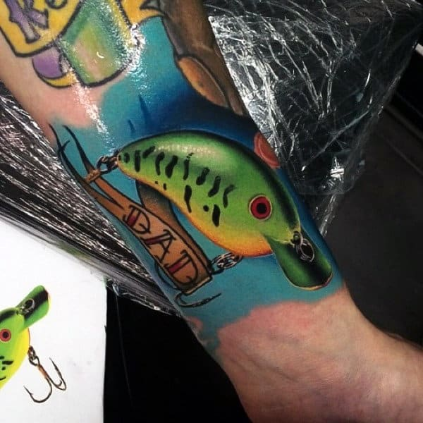 Best Fish Hook Tattoos For Men On Forearm Colorful