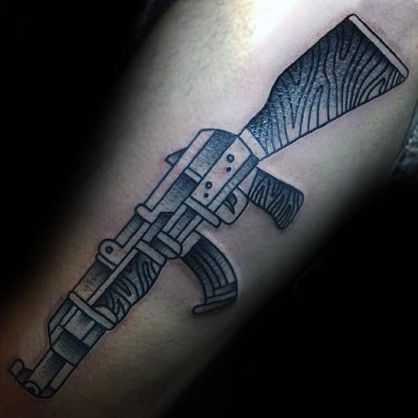 Best Grey Ak 47 Tattoo Male Forearm