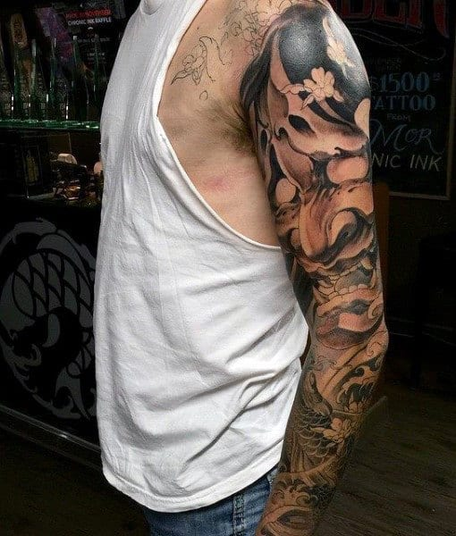 Japanese Style Sleeve Tattoo Flowers Koi Samurai: 50 Koi Fish Tattoo Designs For Men