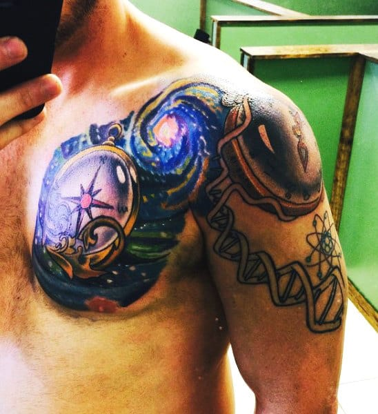 Best Manly Science Tattoos For Men On Shoulder And Chest