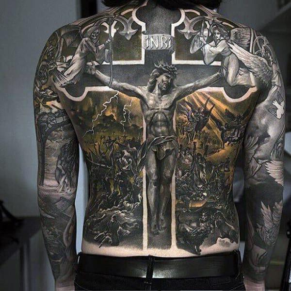 Best Mens Jesus On The Cross Full Back Tattoo