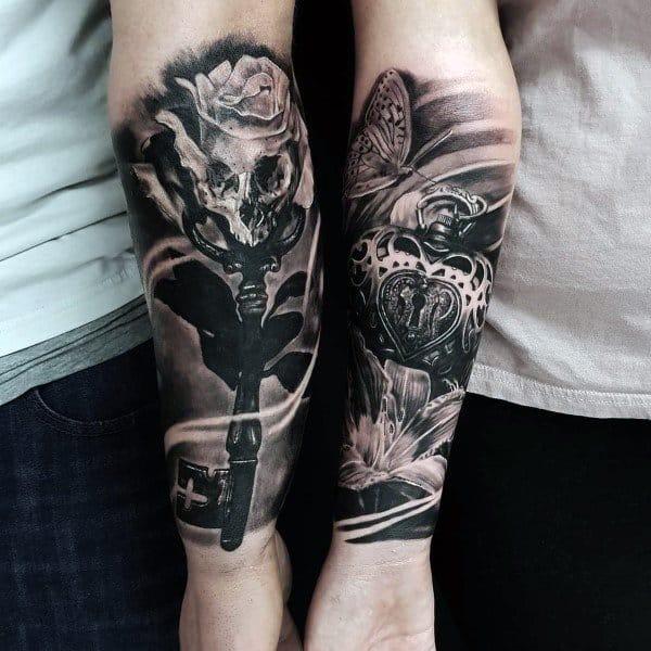Mejores ideas de tatuajes para parejas Realista 3d Llave y candado Manga del antebrazo