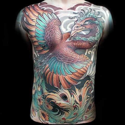 Beuatiful Winged Bird New School Tattoo Guys Full Back