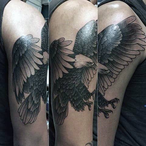 Beuatiful Winged Grey Bald Eagle Tattoo Mens Arms