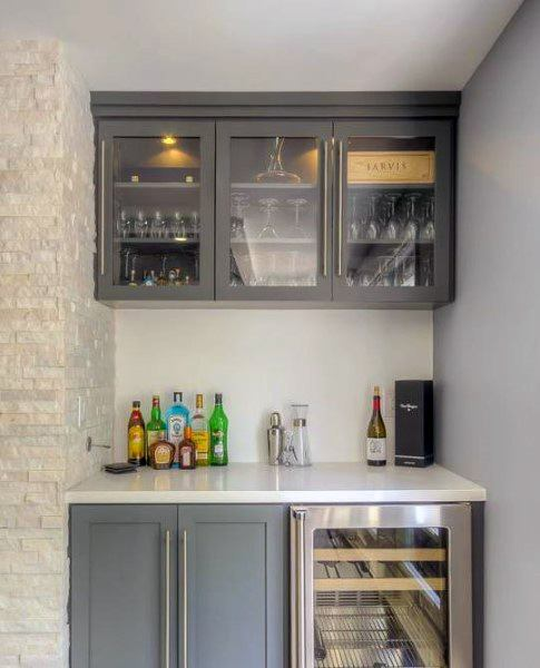 Beverage Cooler Built In Mini Bar Ideas With Grey Cabinets And Quartz Countertops
