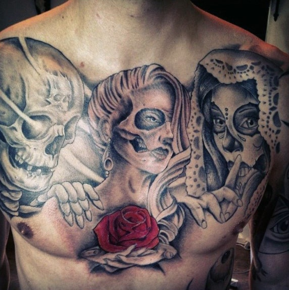 Bewitching Ladies Rose Day Of The Night And Skull Tattoo Mens Chest