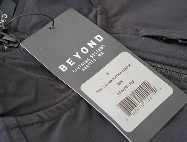 Beyond Clothing K5 Velox Light Softshell Jacket Tag