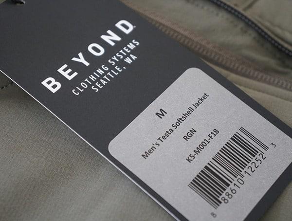 Beyond Clothing Systems Mens Testa Softshell Jacket Tag