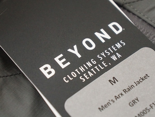 Beyond Clothing Systems Seattle Washington Tag