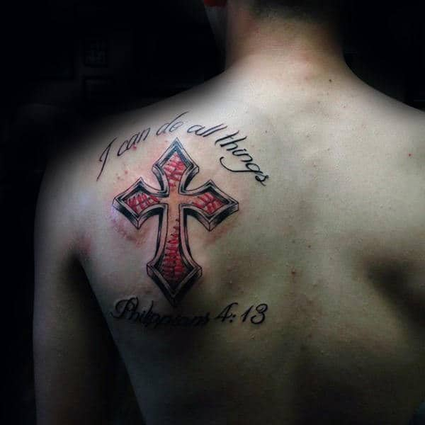 Bible Quote Baseball Cross Mens Shoulder Blade Tattoos