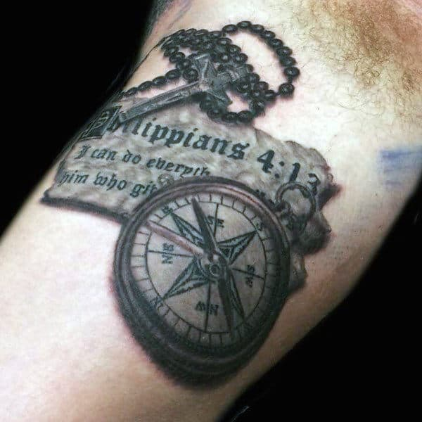 Bible Quote With Compass Bicep Tattoos Of Rosary On Man