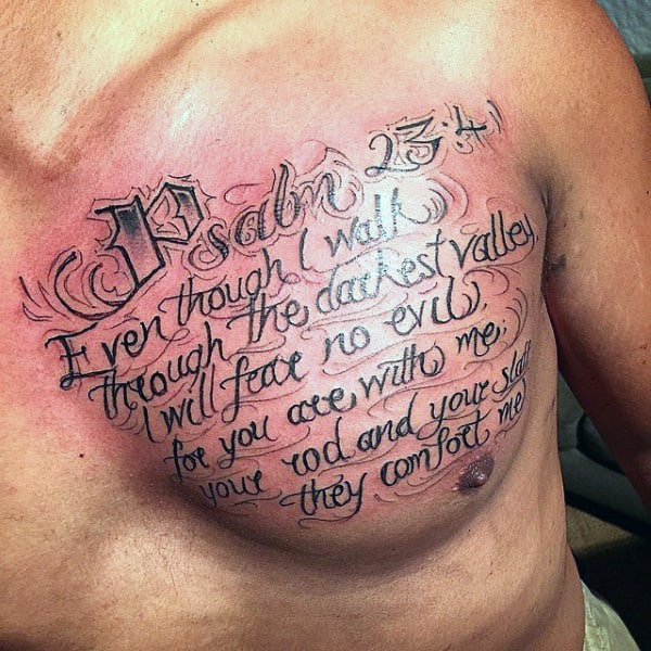 Bible Tattoo Quotes For Males On Upper Chest Psalm 23 41