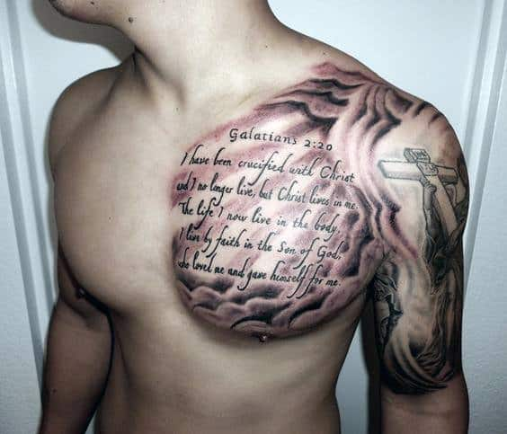 Bible Verse Quote Mens Cloud Chest Tattoo