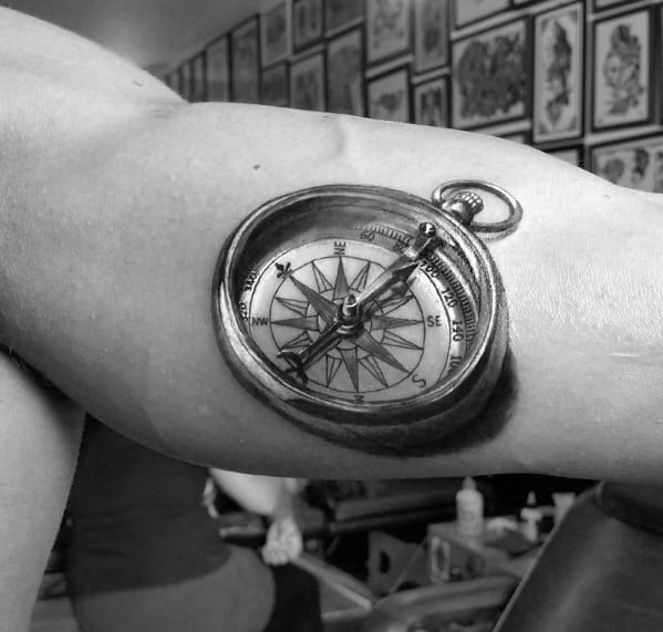 Bicep 3d Incredible Small Compass Tattoos For Men