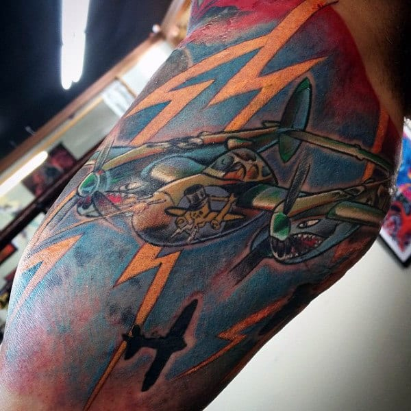 Bicep Air Force Tattoo On Gentleman