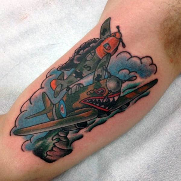 Bicep Airport Plane Tattoo For Men