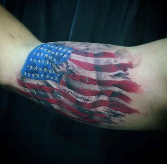 Bicep American Flag Tattoos For Men