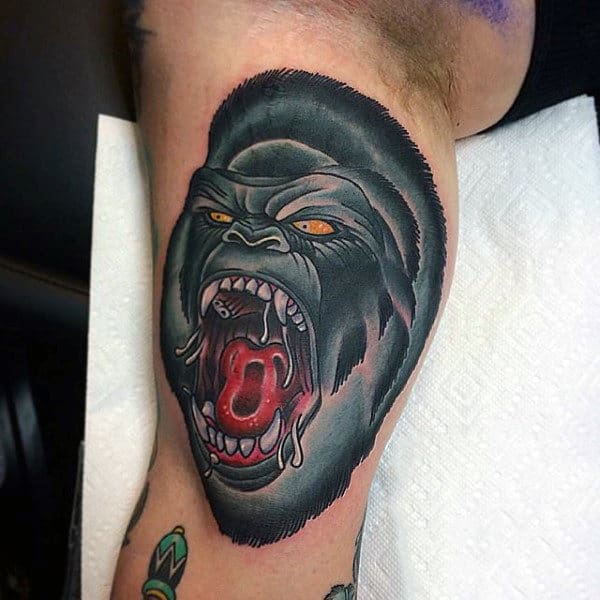 Bicep Angry Black Gorilla Mens Tattoos