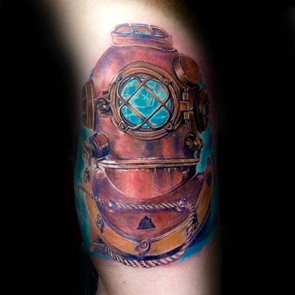 Bicep Arm Diving Helmet Tattoo Design On Man