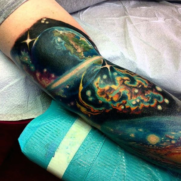 Bicep Arm Stars In The Sky Tattoo For Men