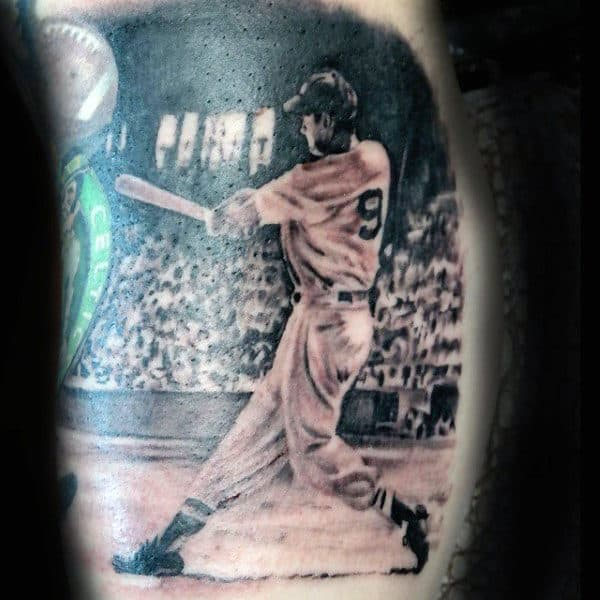 Bicep Baseball Bat Swing Tattoos For Men