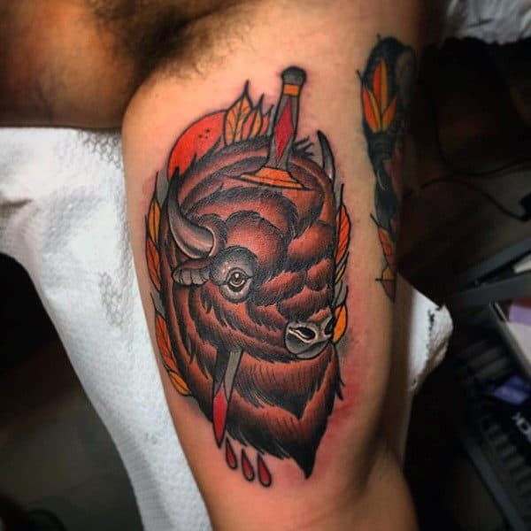 Bicep Bison With Sword Tattoos For Men