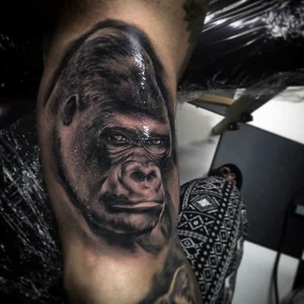 Bicep Black Gorilla Mens Tattoo Designs