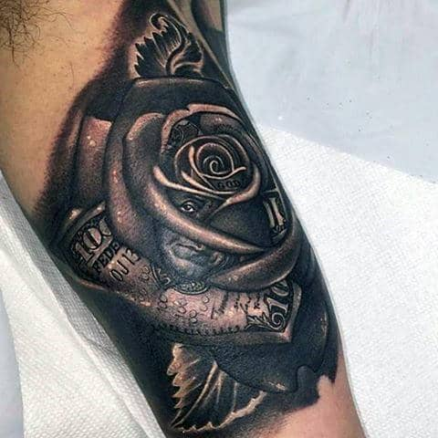 Bicep Black Ink Heavily Shaded Money Rose Tattoo Design For Guys