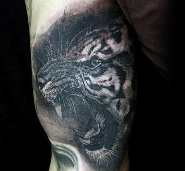 Bicep Black Ink Tiger Male Tattoo Inspiration