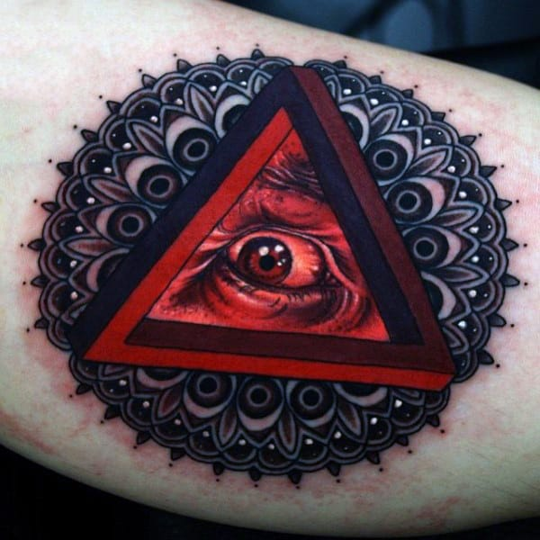 Bicep Blazing Red Triangle Eye Tattoo For Men