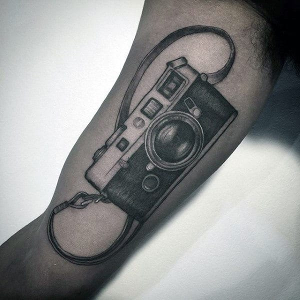 Bicep Camera With Support Strap Tattoo Designs On Gentleman