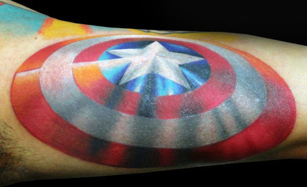 Bicep Captain America Shield Male Tattoo Design Inspiration