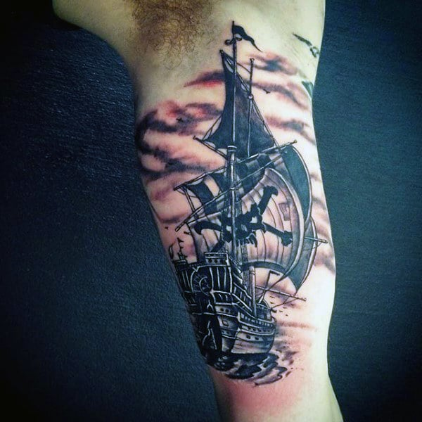 Bicep Clipper Ship Tattoo For Men