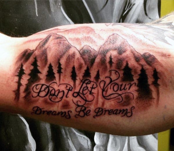 Bicep Mountains Tattoos For Men
