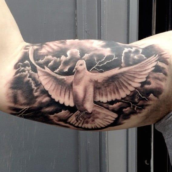 Bicep Dove Flying In Dry Lightning Tattoos For Men