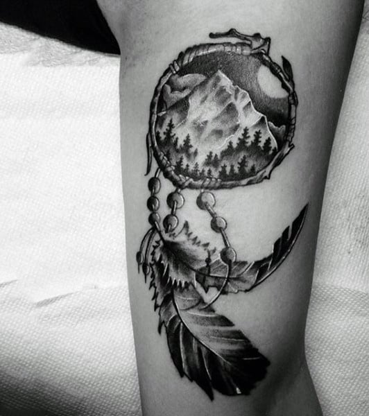 Bicep Dreamcatcher Tattoo Design With Nature Theme For Men