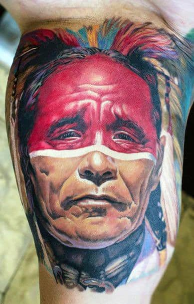 Bicep Dual Colored Native American Man Tattoos For Men