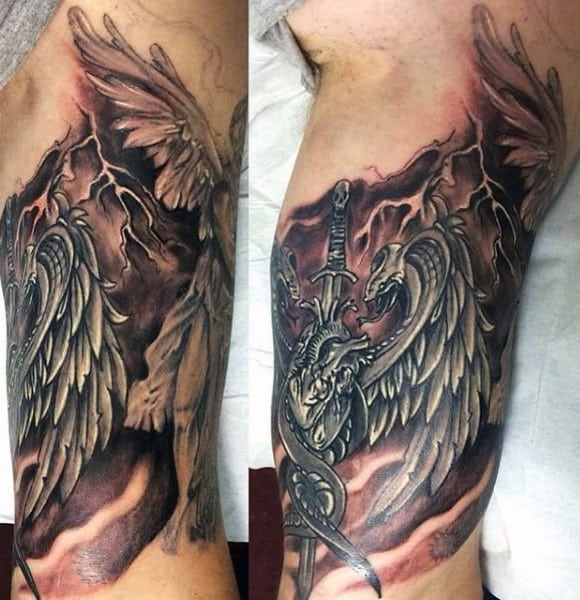 Bicep Electrostaic Discharge Lightning Mens Tattoos With Dragon