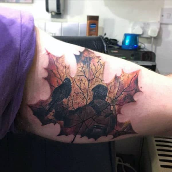 Bicep Fall Leaf Tattoos For Guys