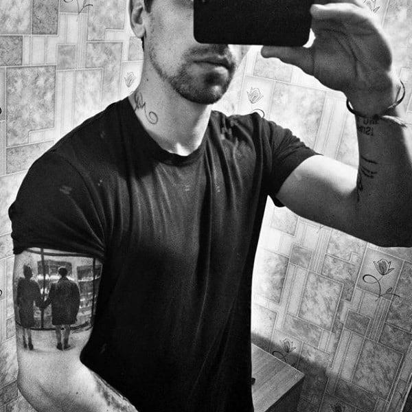Bicep Fight Club Quarter Sleeve Guys Window Tattoo Designs