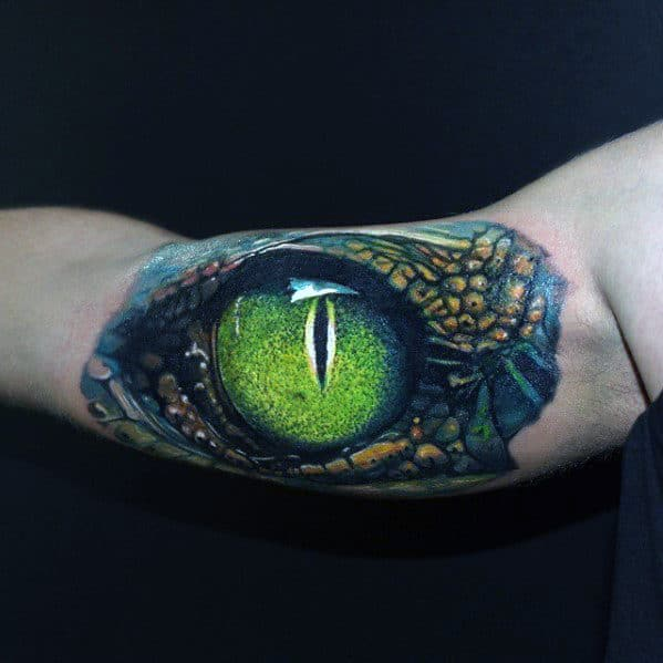 Bicep Green Hyper Realistic Dragon Eye Tattoo On Gentleman